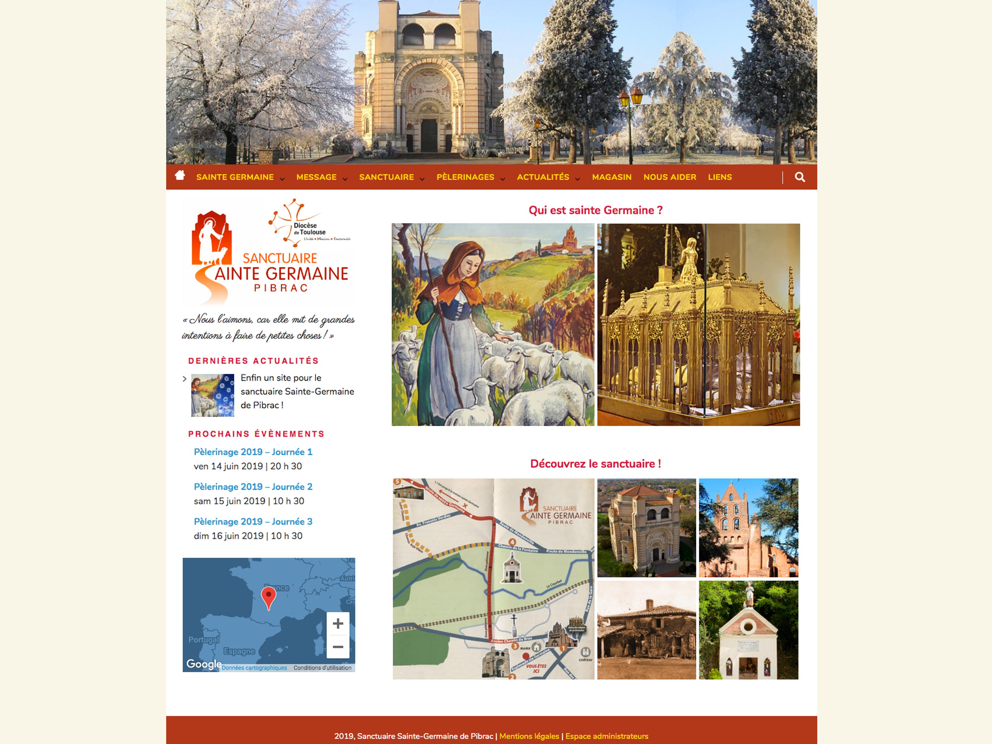 Création du site du Sanctuaire de Sainte-Germaine